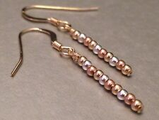 14ct Rolled / Rose Gold & Sterling Silver Drop Earrings