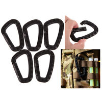 5Pcs Outdoor Carabiner D-Ring Key Chain Clip Hook Camping Buckle Snap Plastic