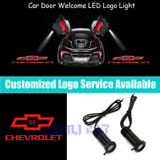 2Pcs Red Chevrolet 68 Logo Car Door Welcome LED Projector Shadow Light for Chevy