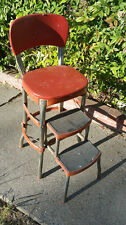 Rare Vintage Cosco Red Metal Step Stool Kitchen Chair 1950s-60s Fold Out HTF