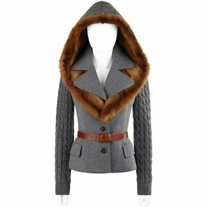 ALEXANDER McQUEEN F/W 2005 Gray Brown Mink Fur Removable Hood Belted Jacket Coat