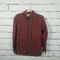 LL Bean Mens Size Small Flannel Red Plaid Long Sleeve Button Down