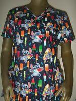 New Womens Lilo And Stitch Space Alien Popsicle Treats Disney Nurses Scrub Shirt