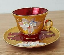 Vintage Murano Italy Red Glass 24k Gold Enamel Flowers cup and saucer