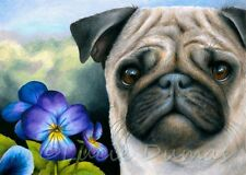 ACEO art print Dog 133 Pug Purple Flower from original painting L.Dumas