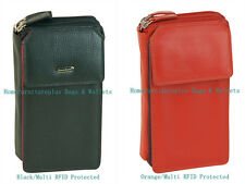 RFID Proctected Zip Around 18 Card Mega Purse Genuine Leather iPhone 6 Wallet