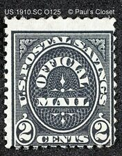US SC O125 2¢ OFFICIAL 12¢ STAMP - POSTAL SAVINGS OFFICIAL MAIL 1910 MNG OG F/VF
