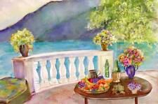 "Suzanne Obrand, Holocaust Survivor, Watercolor Painting ""Mediterranean Delight"""