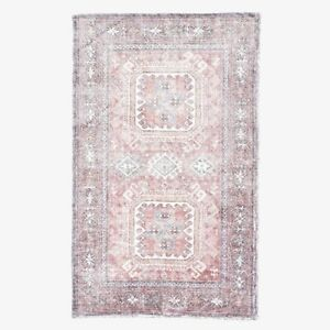 NEW PB Teen Pers WASHABLE Rug, 3x5 Pink/Gray/Blue/Neutral