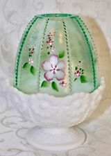 Fenton, Fairy Light, Willow Green Glass with Milk Glass Base, Hand Decorated