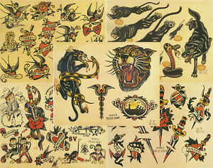 """Sailor Jerry Traditional Vintage Style Tattoo Flash 5 Sheets 11x14"""" Old School A"""