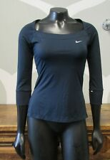 NIKE FIT DRY 0-2 XS WOMENS DARK BLUE 3/4 SLEEVE ATHLETIC TOP RUNNING