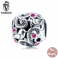 VOROCO Vintage 925 Sterling Silver Love Bird Charm Beads Large Hole Fit Bracelet