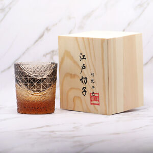 Japanese Edo-Kiriko Cut Glass Style Old Fashioned Whiskey Cup Tumblers