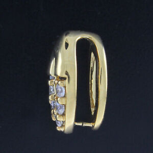 0.21 Ct Diamond 14K Yellow Gold Over Pinch Bail 12 x 7mm for Pendant w/ Finding