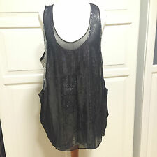 Jimmy Choo for H&M Top Shirt Silber Pailletten Schw. Seide silk 40 US 10 UK 14