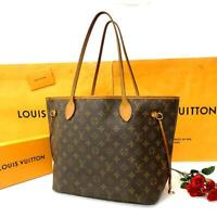 Louis Vuitton Monogram Neverfull MM Tote Bag Brown Auth MM5020