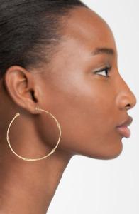 John Hardy Bamboo 18k Gold Large Hoop Earrings hammer  NEW $1,750