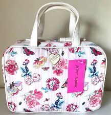 Betsey Johnson Travel Cosmo Make up Bag Case Pink Stripes Butterfly Flowers NWT