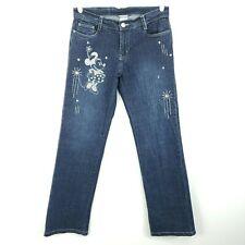 Disney Store Womens Jeans Sz 6 Mickey Minnie Mouse Jeweled Dark Wash Straight
