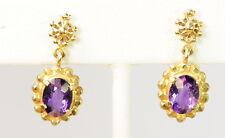 Ladies 14k Yellow Gold Amethyst Dangle Chandelier Estate Earrings