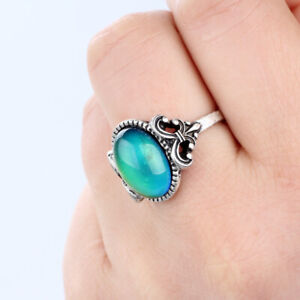 Hot Vintage Small Mood Stone Silver Plate Ring Cute Color Change Ring Size 7/8/9