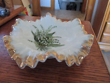 Vintage Porcelain Hand Painted with Lily of the Valley Flowers Bowl  Napco