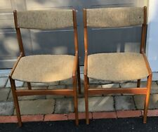 Set 2 Erik Buch Style Teak Wood Fabric Mid Century Danish Modern Dining Chairs