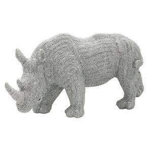 Silver Art Diamante Rhino Sparkle Standing Ornament By LEONARDO