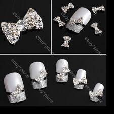 Wholesale 100x 3D Bow Tie Rhinestone Alloy Nail Art Tips Glitters DIY Decoration