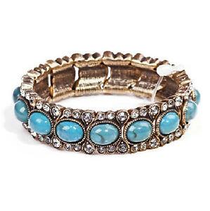 Beaded Turquoise Bangle Bracelet Retro Vintage Style Women Wrist Jewellery BB100