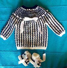 NOUVEAU bébé brassière-chaussons 0/3 mois bleu marine blanc laine hypoallergénik