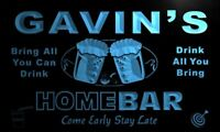 p676-b Gavin's Home Bar Beer Family Name Neon LED Sign