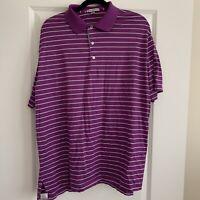Men's Peter Millar Short Sleeve Golf Polo Shirt Purple And Blue Striped Size XL