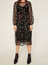 ZARA EMBROIDERED MESH MIDI DRESS With Knit Underdress  SZ L 10
