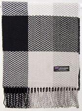 Free Shipping 2PLY SOFT 100% Cashmere Black Grey Scarf Scotland Wool Plaid R3916