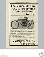 1905 PAPER AD 2 PG Metz Marsh Motorcycle Consolidation Motor Cycle Brockton Ma