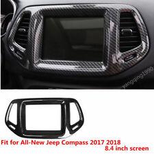 Carbon fiber look navigation decorative frame Trim For Jeep Compass 2017 2018