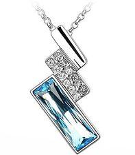 Girlz! Blue Swarovski Like Element  Austrian Crystal Pendant Necklace With Chain