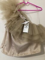 H M  H&M One Shoulder Beige Tan Tulle Top Bloggers Favourite Sold Out UK 16 L