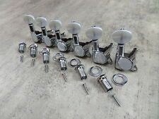 Guitar Tuners Strat /Tele Chrome/Pearl 6 Inline set Tuning Pegs Machine Heads 6R