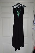 New 10-14 Black Jersey Halter neck Ruched Dress with Peacock Green Sequin Insert