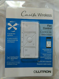 LUTRON CASETA WIRELESS FAN CONTROL PD-FSQN-WH-R WHITE CEILING  BRAND NEW, SEALED