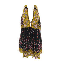 Free People Top Women's XS Floral Sleeveless Rayon V-neck Collared