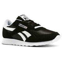Men's Reebok Royal Nylon Leather Running Shoes Black White BD1553 Original New