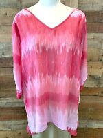 ZAC & RACHEL WOMAN 2X Plus Pink & Rose 3/4-Sleeve Poly+ Top Shirt Blouse NWOT