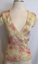 WESTON WEAR USA SZ S WRAP TOP BLOUSE SLEEVELESS V NECK FLORAL VANILLA & PINK