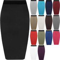 LADIES PLAIN OFFICE SKIRT WOMEN STRETCH BODYCON MIDI PENCIL SKIRT PLUS SIZE 8-22
