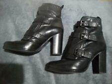 5 38 ALLSAINTS black leather boots RARE designer unusual high heels 3x buckles