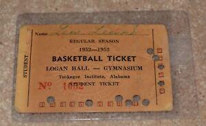 1952-1953 BASKETBALL TICKET TUSKEGEE INSTITUTE ALABAMA LOGAN HALL VERY RARE